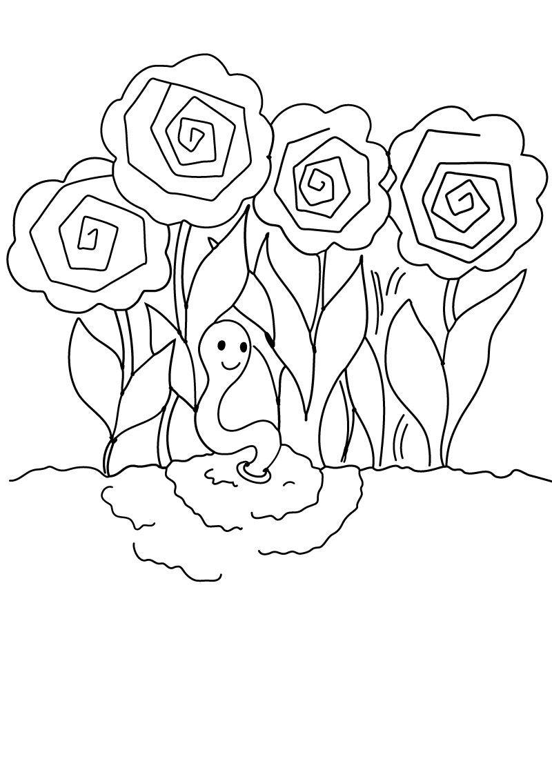 800x1100 Free Printable Coloring Page Earthworm In The Peonies