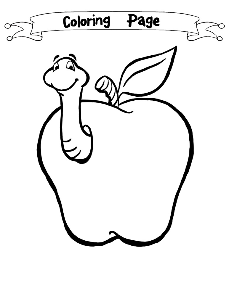 773x1000 Worm Coloring Page Food Scraps Apple
