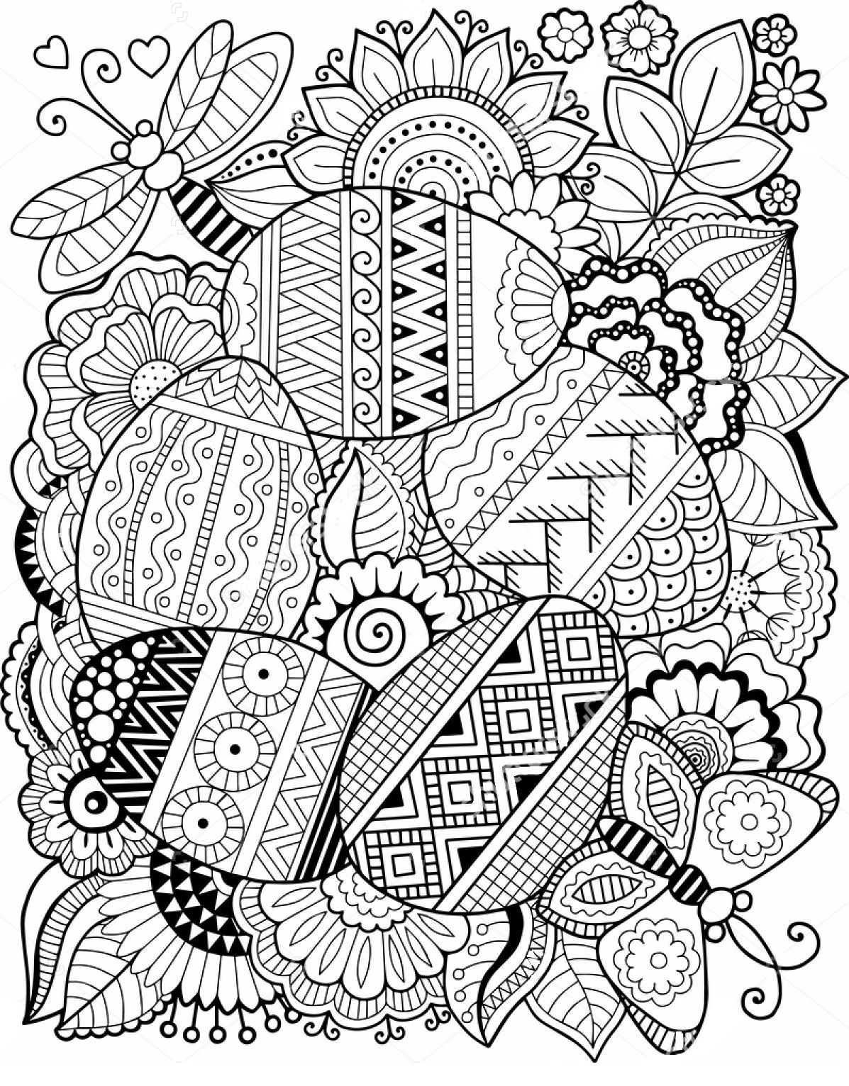 1197x1532 Easter Egg Zentangle Coloring Page Zentangle Coloring Pages