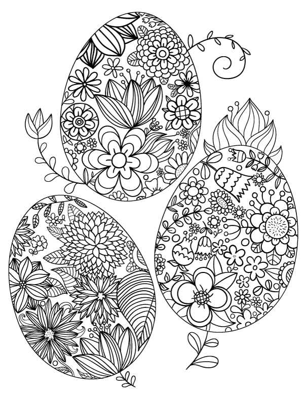 600x776 Floral Easter Egg Adult Coloring Page