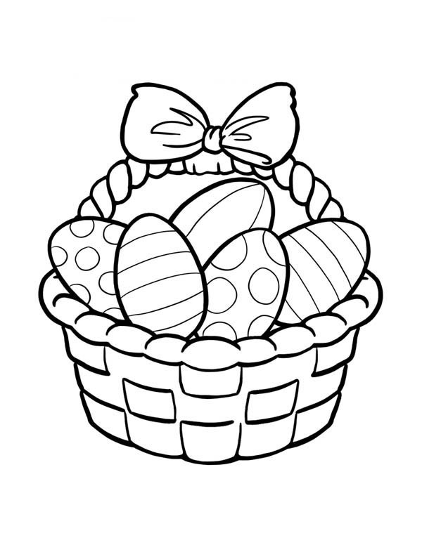 600x776 Easter Basket Full Of Easter Eggs Coloring Page Batch Coloring