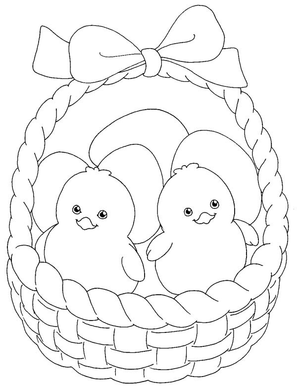 600x782 Little Chicken Inside Easter Basket Coloring Page Batch Coloring