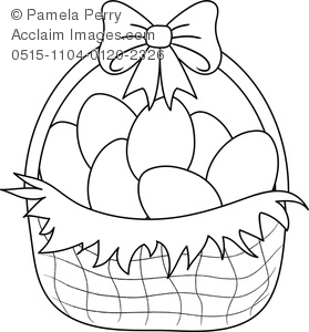 279x300 Clip Art Image Of An Easter Basket Coloring Page