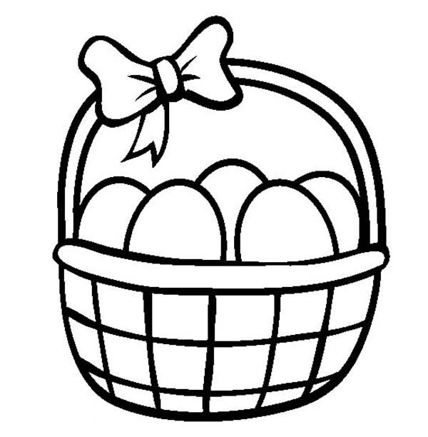 600x612 Easter Egg Basket Coloring Page