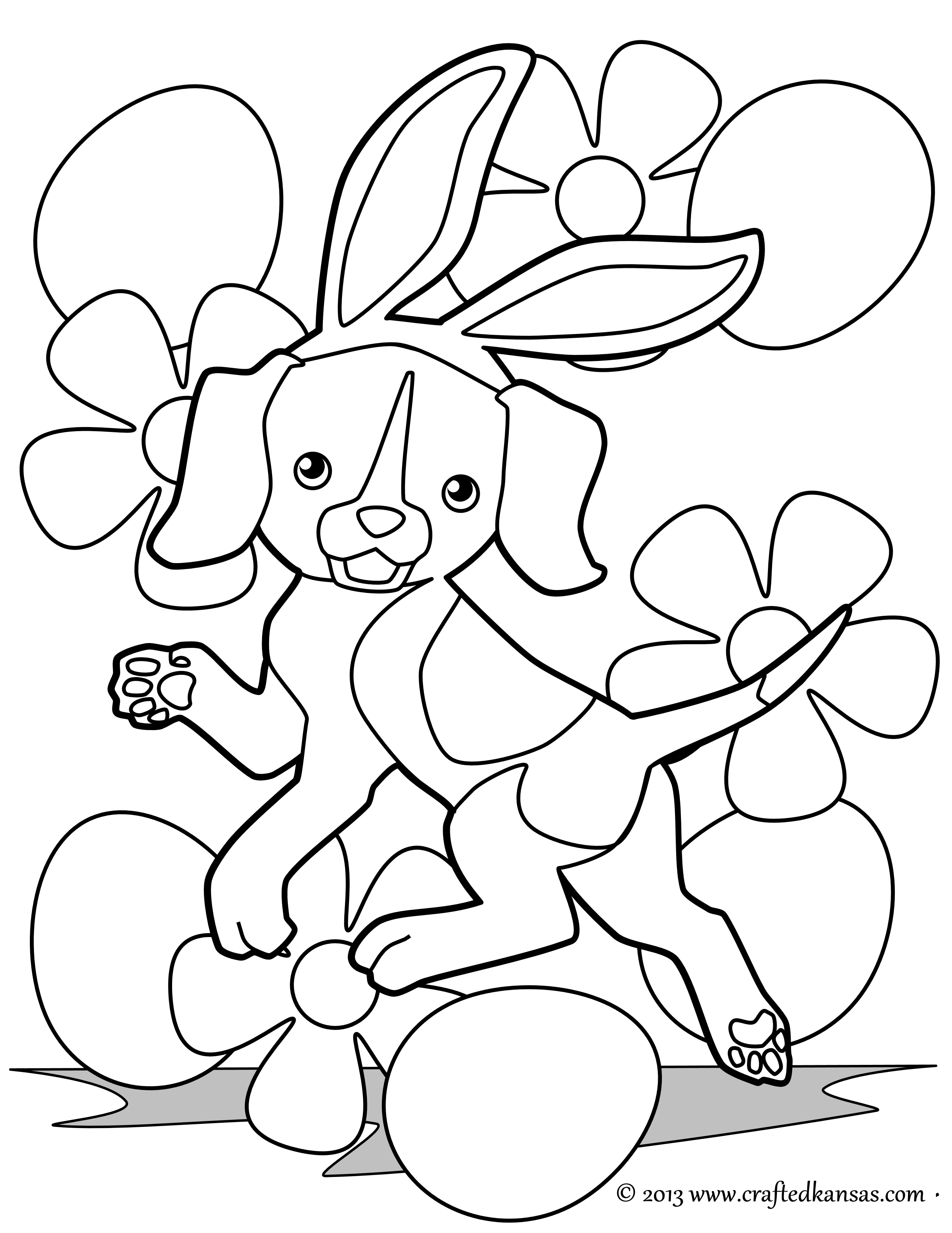 2550x3300 Easter Beagle Coloring Page