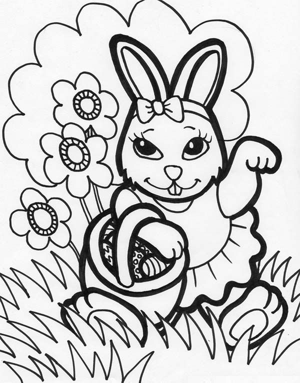 600x766 Female Easter Bunny Holding A Basket Easter Eggs Coloring Page