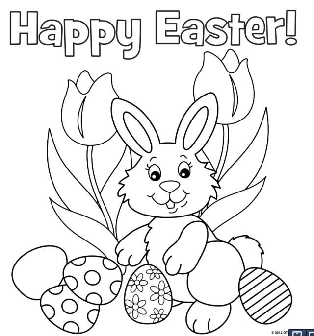 Cute Easter Bunny Hiding Eggs. Coloring Page Royalty Free Cliparts ... | 686x640