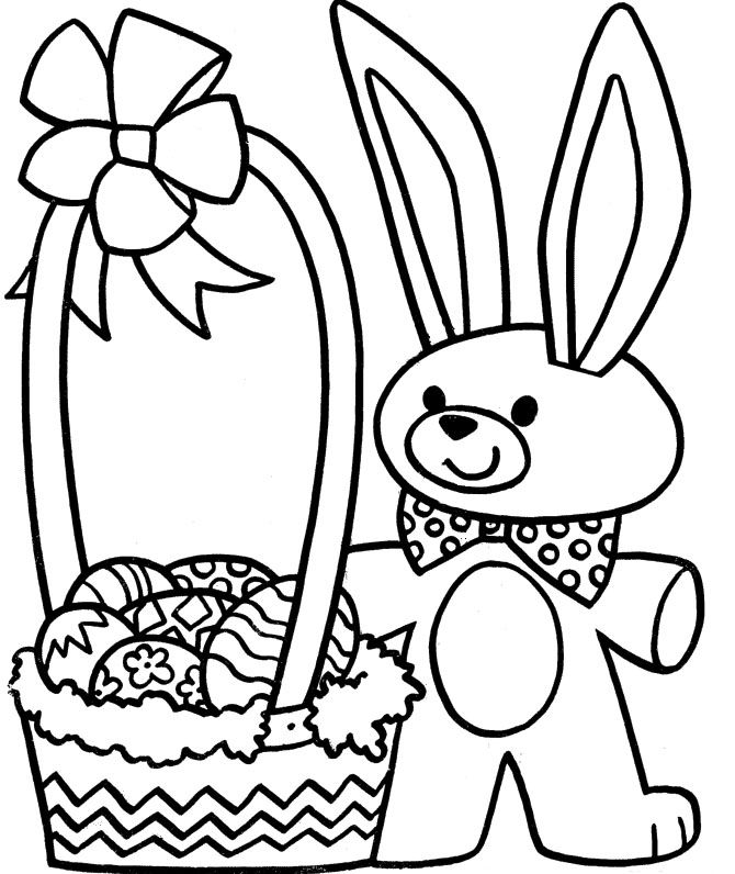 670x796 Easter Bunny And Eggs Coloring Pages For Kids Childrens Free