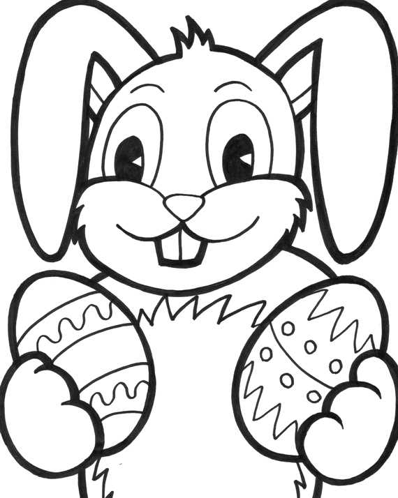 570x714 Bunny With And Easter Face Coloring Pages