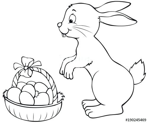 500x417 Easter Basket Coloring Pages Happy Bunny With Basket Coloring Page