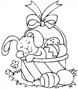 264x300 Easter Bunny And Basket Coloring Pages Happy Easter
