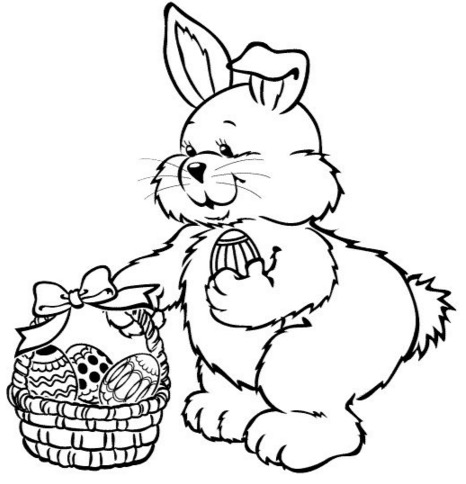 466x484 Easter Bunny Basket Coloring Page Coloring Book