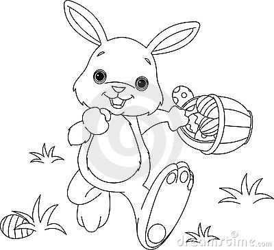 400x365 Easter Bunny Hiding Eggs Coloring Page Anything Easter