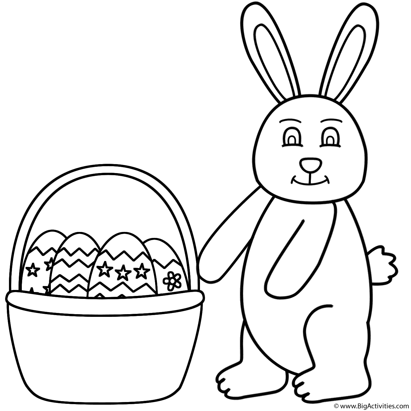 1375x1375 Easter Bunny And Basket Of Easter Eggs