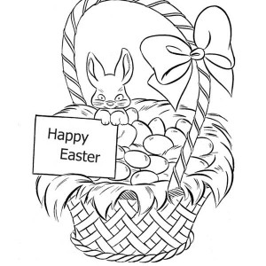 300x300 Easter Bunny And Easter Basket Coloring Page Batch Coloring
