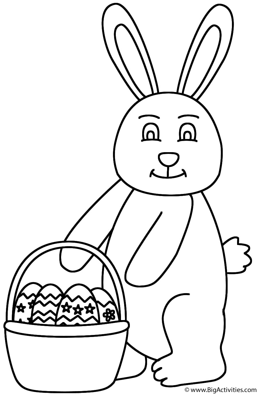 900x1375 Easter Bunny Holding Basket Of Easter Eggs