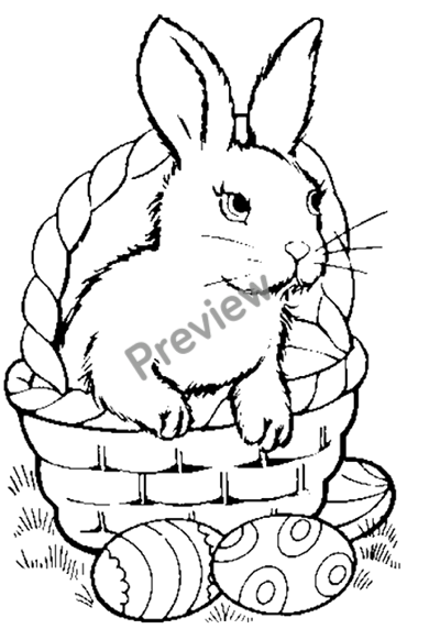 400x582 Free Printable Easter Bunny In Basket Coloring Page