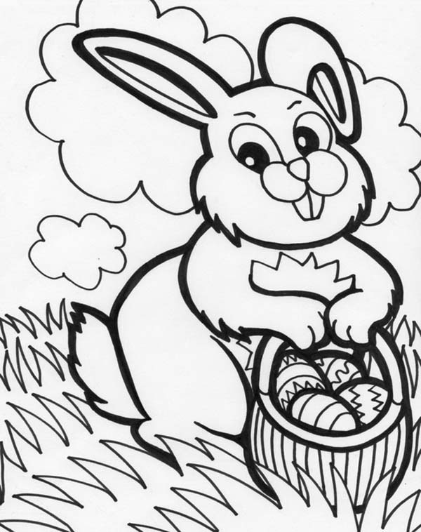 600x758 Mrs Bunny With A Basket Of Easter Eggs Coloring Page