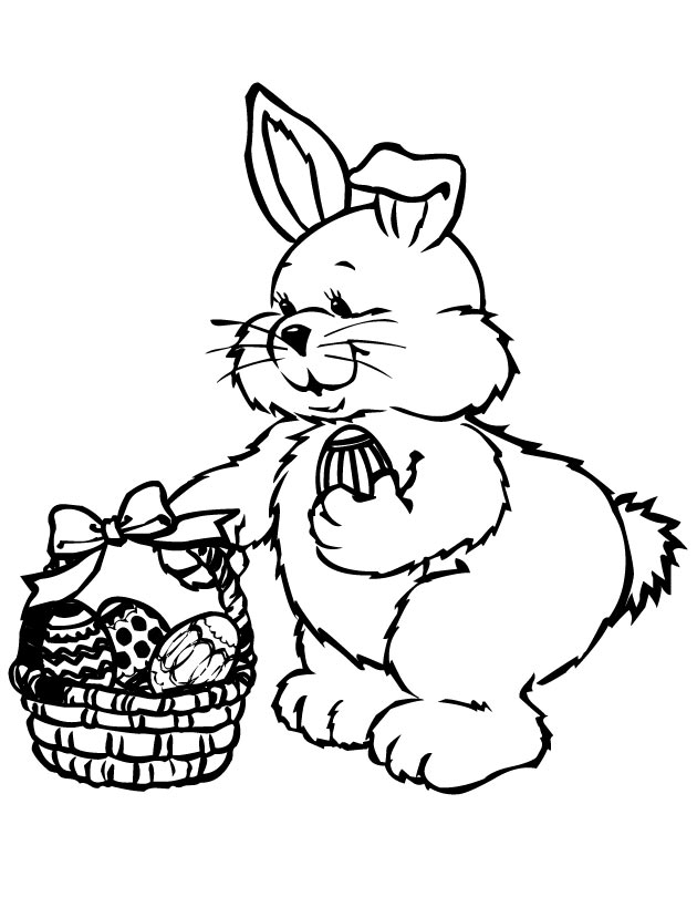 630x810 Printable Easter Bunny Holding Easter Basket Coloring Page