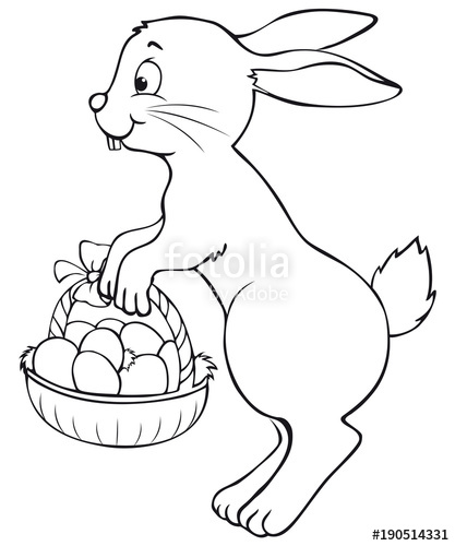 417x500 Cute Jumping Easter Bunny With Easter Basket Coloring Page Stock