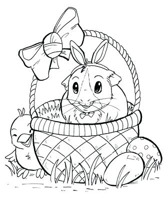 328x400 Easter Bunny Basket Coloring Page
