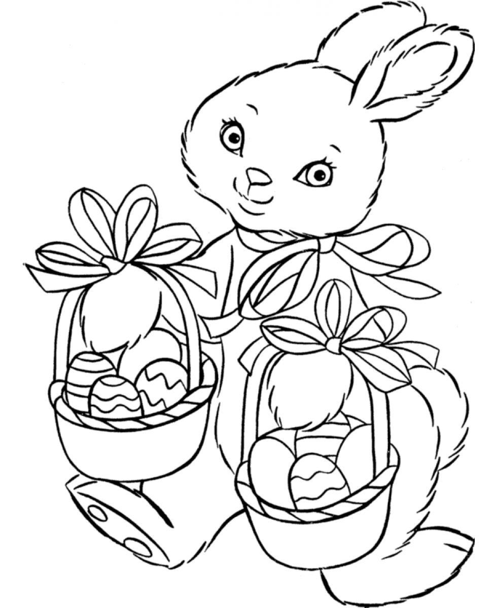 980x1200 Easter Bunny Two Baskets Of Eggs Free Coloring Page Animals Easter