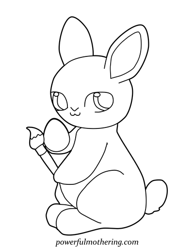 Easter Bunny With Eggs Coloring Page