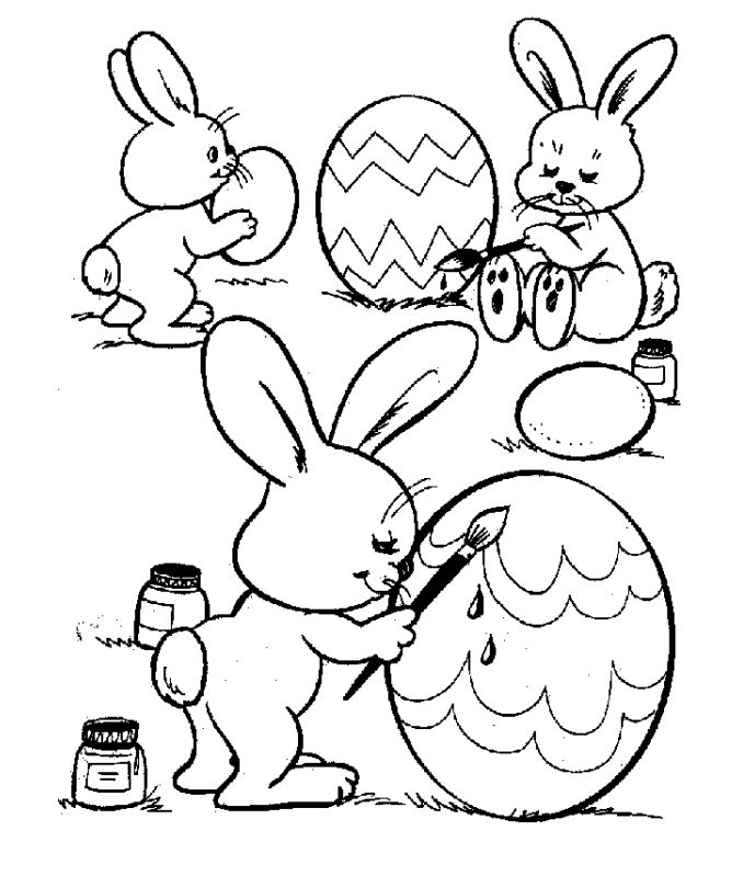 668x799 Easter Bunnies Coloring Eggs Free Coloring Page Animals, Easter
