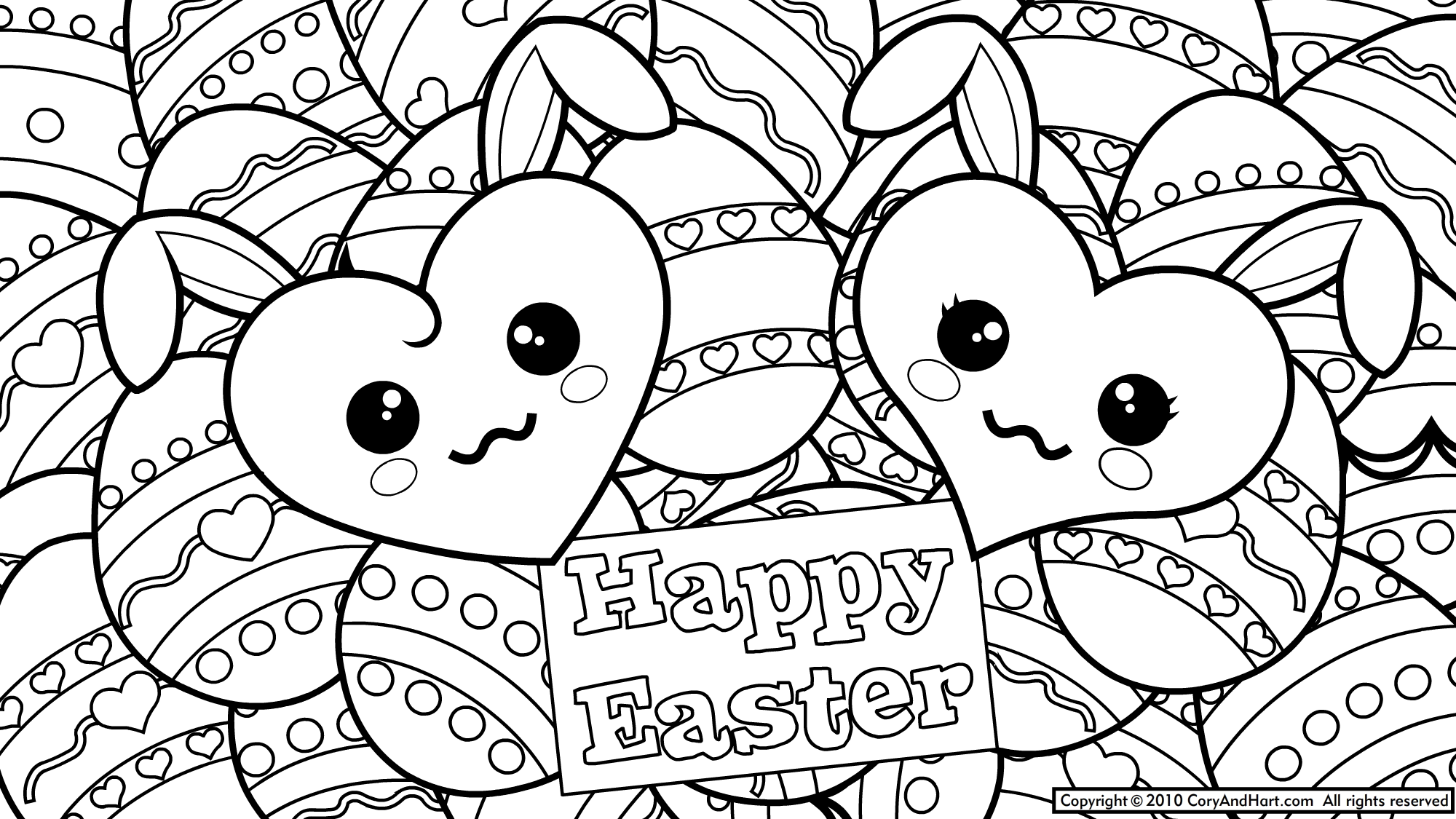 2000x1125 Easter Bunny Coloring Page