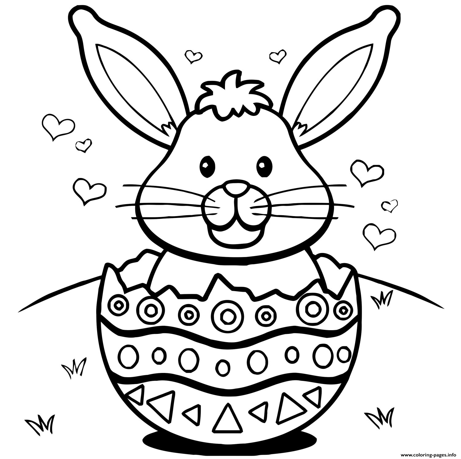 1500x1493 Easter Bunny Eggs Hearts Coloring Pages Printable