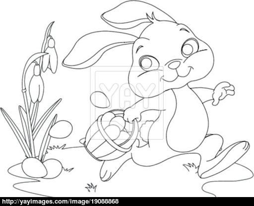 512x415 Easter Bunny Hiding Eggs Coloring Page Vector