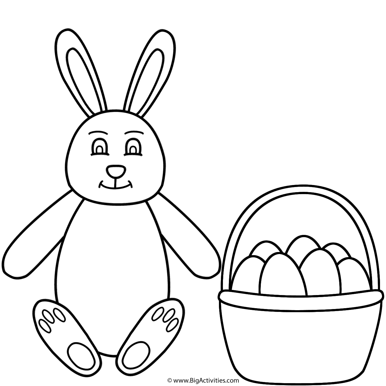 1354x1354 Easter Bunny Sitting And Basket Of Eggs