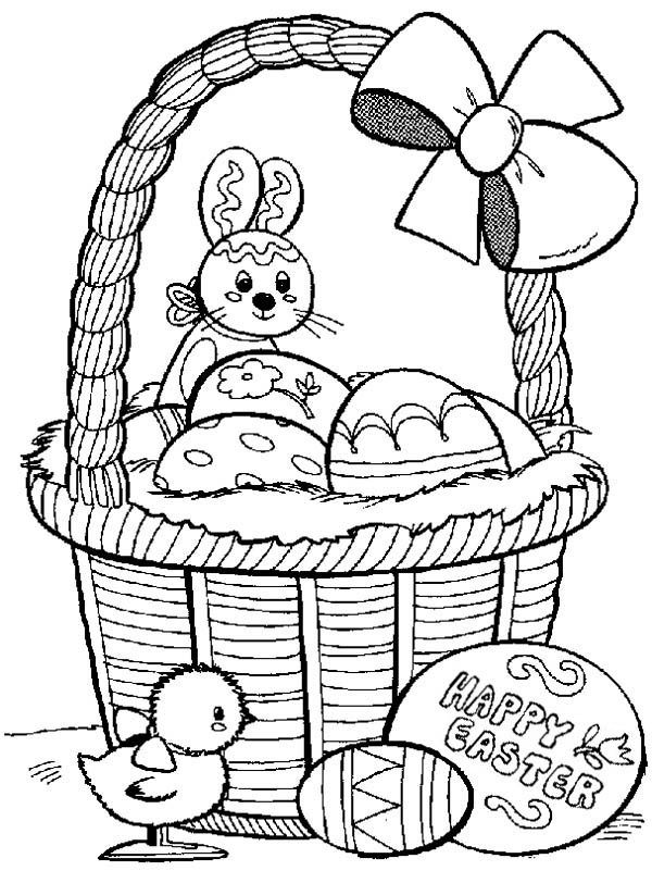 600x801 Easter Bunny And Little Chick Collecting Easter Eggs Coloring Page