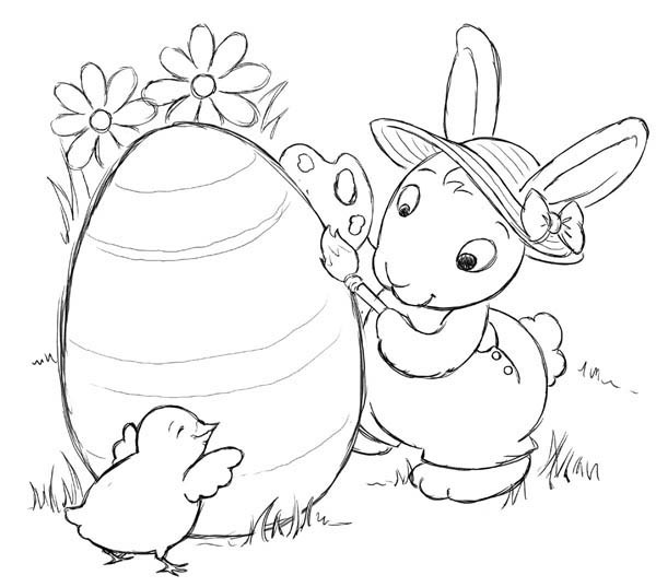 600x537 Little Chick Helping Easter Bunny Decorated Easter Egg Coloring