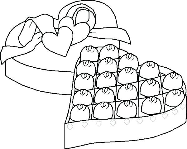 600x478 An Open Box Chocolate Coloring Page Chocolate Box Free Coloring