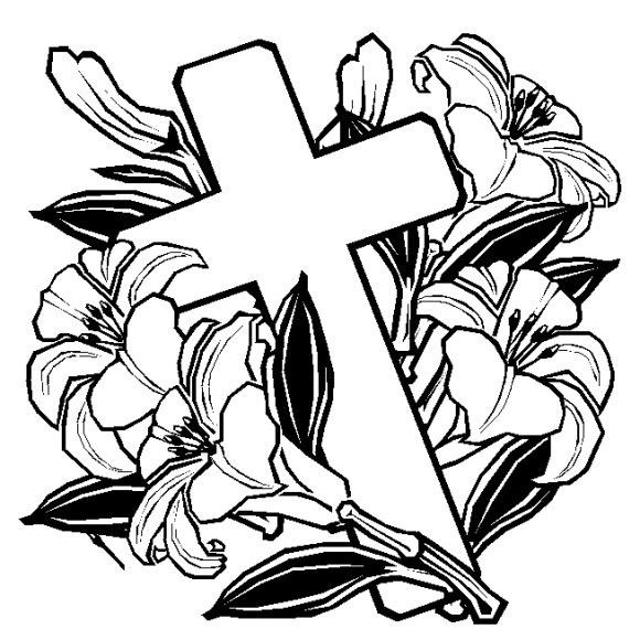 580x580 Coloring Pages Of Crosses With Roses Easter Cross And Church