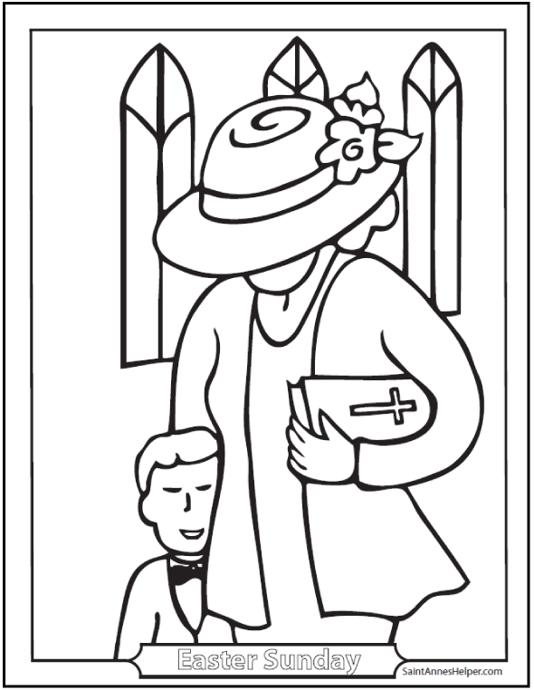 590x762 Easter Sunday Coloring Page Mother And Son