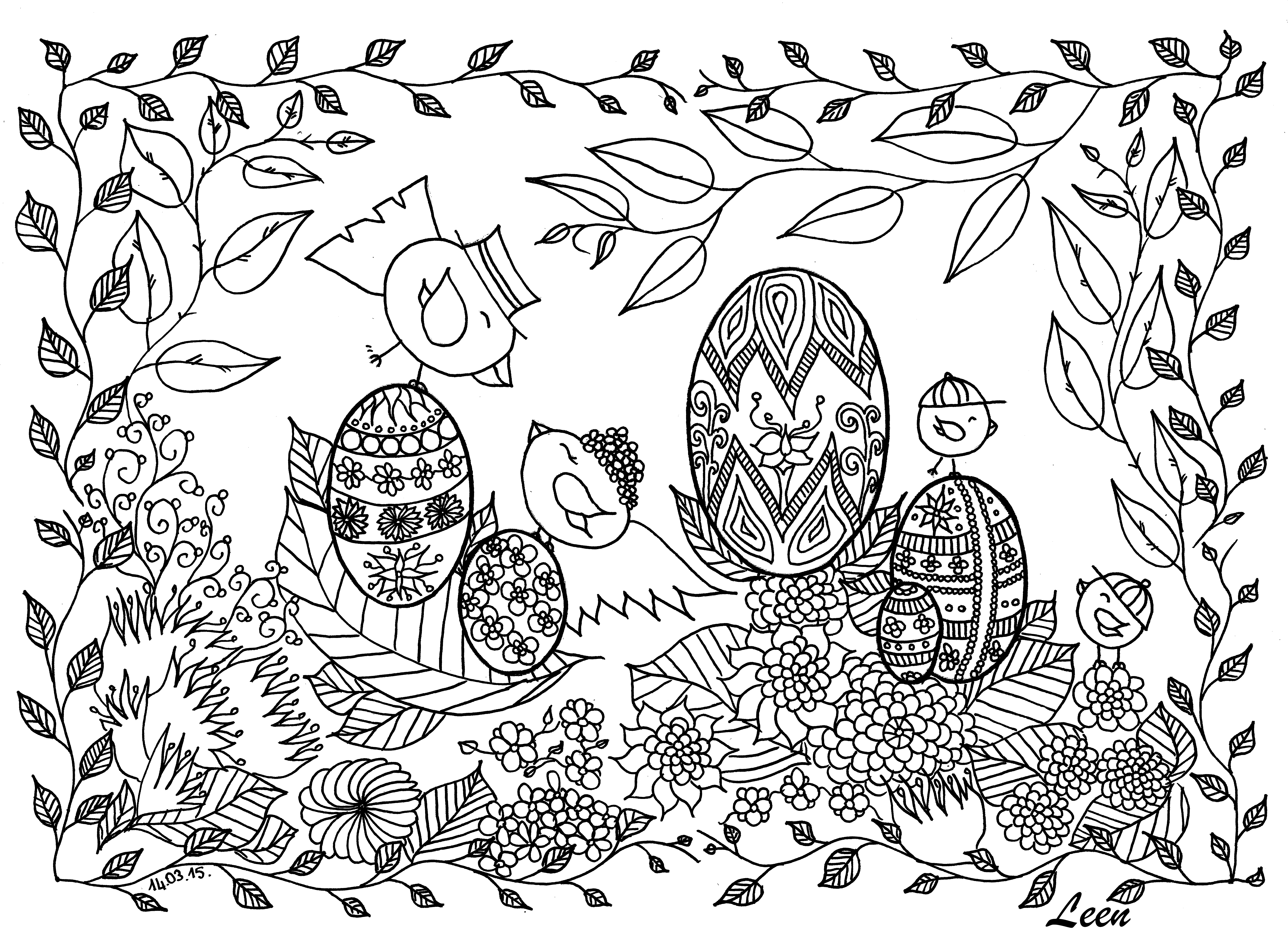 7014x5100 Easter Coloring Pages For Adults Best Kids