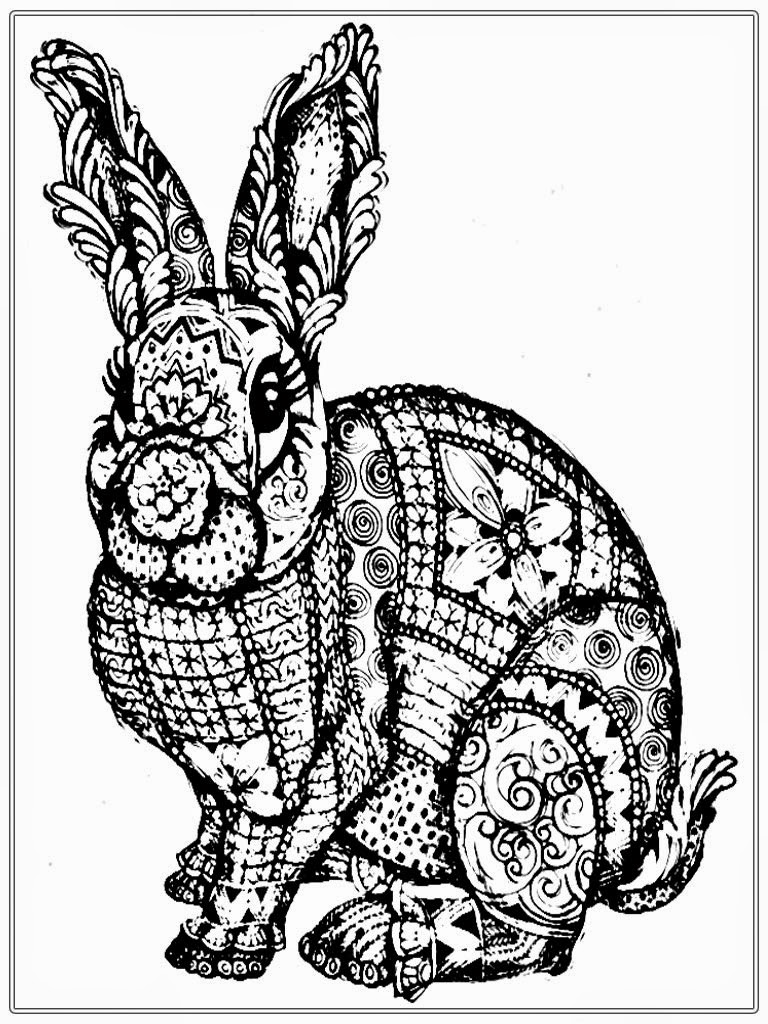 768x1024 Free Adult Coloring Pages To Print Rabbit At Easter For Adults