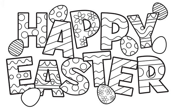600x391 Free^ Happy Easter Coloring Pages Printable For Adults