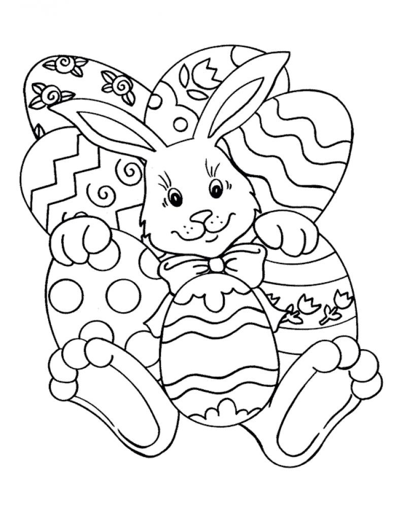 802x1048 Easter Bunny With Eggs Coloring Page