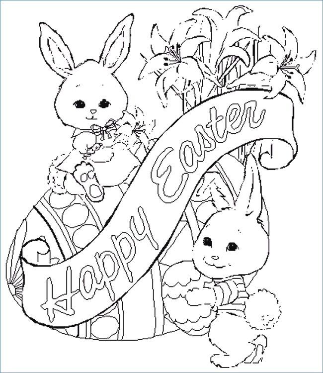 650x750 Funny Bunny Painting Easter Egg Coloring Page