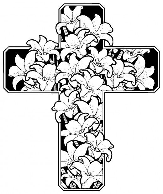 520x621 Easter Cross Coloring Page Free Download