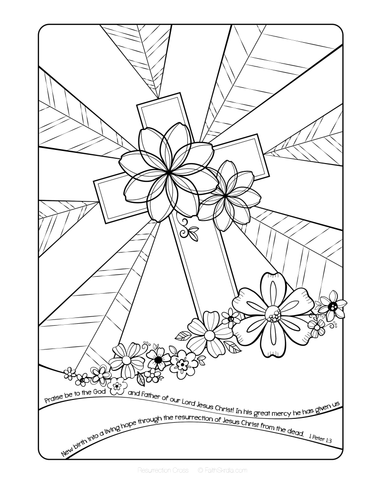 791x1024 Free Easter Cross Adult Coloring Page Coloring Collections