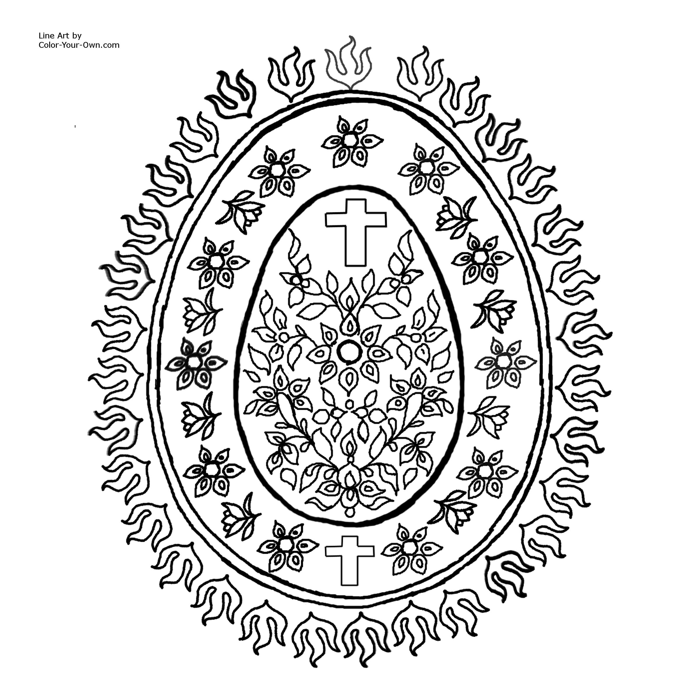 2400x2400 Decorative Egg Pattern With Cross Coloring Page For Easter