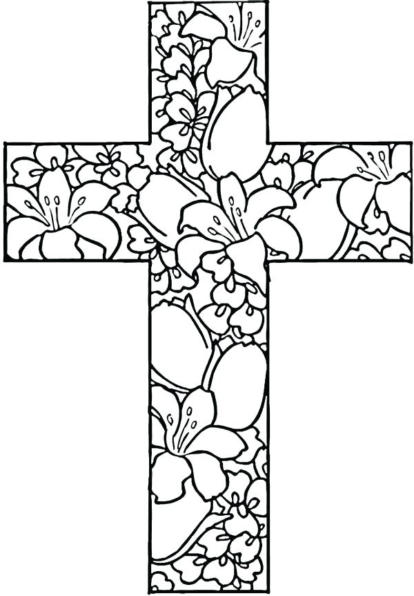 600x862 Easter Cross Coloring Pages Vintage Printable Cross Coloring Pages