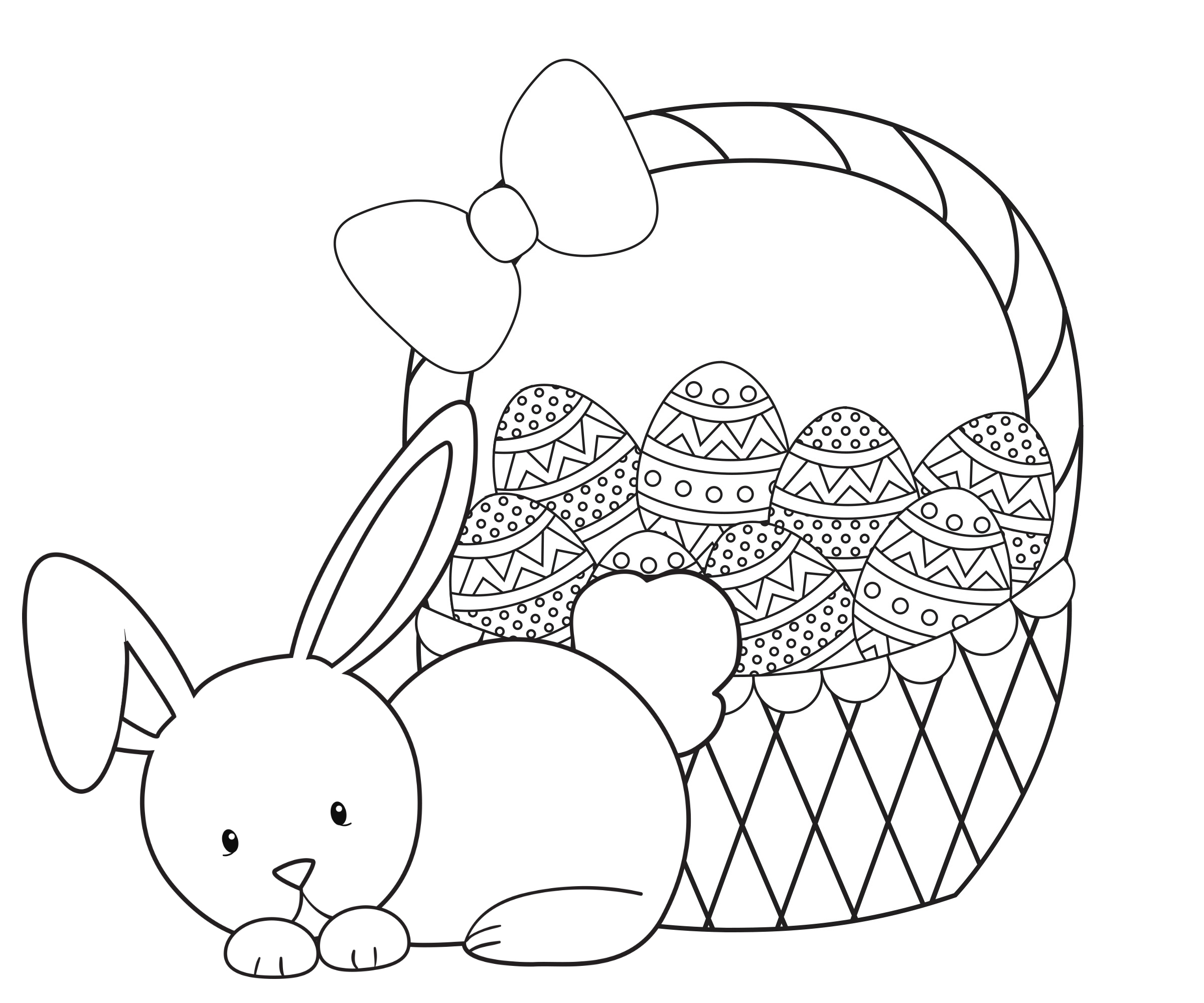 2400x2000 Easter Bunny Basket Free Coloring Page Animals, Easter, Holidays