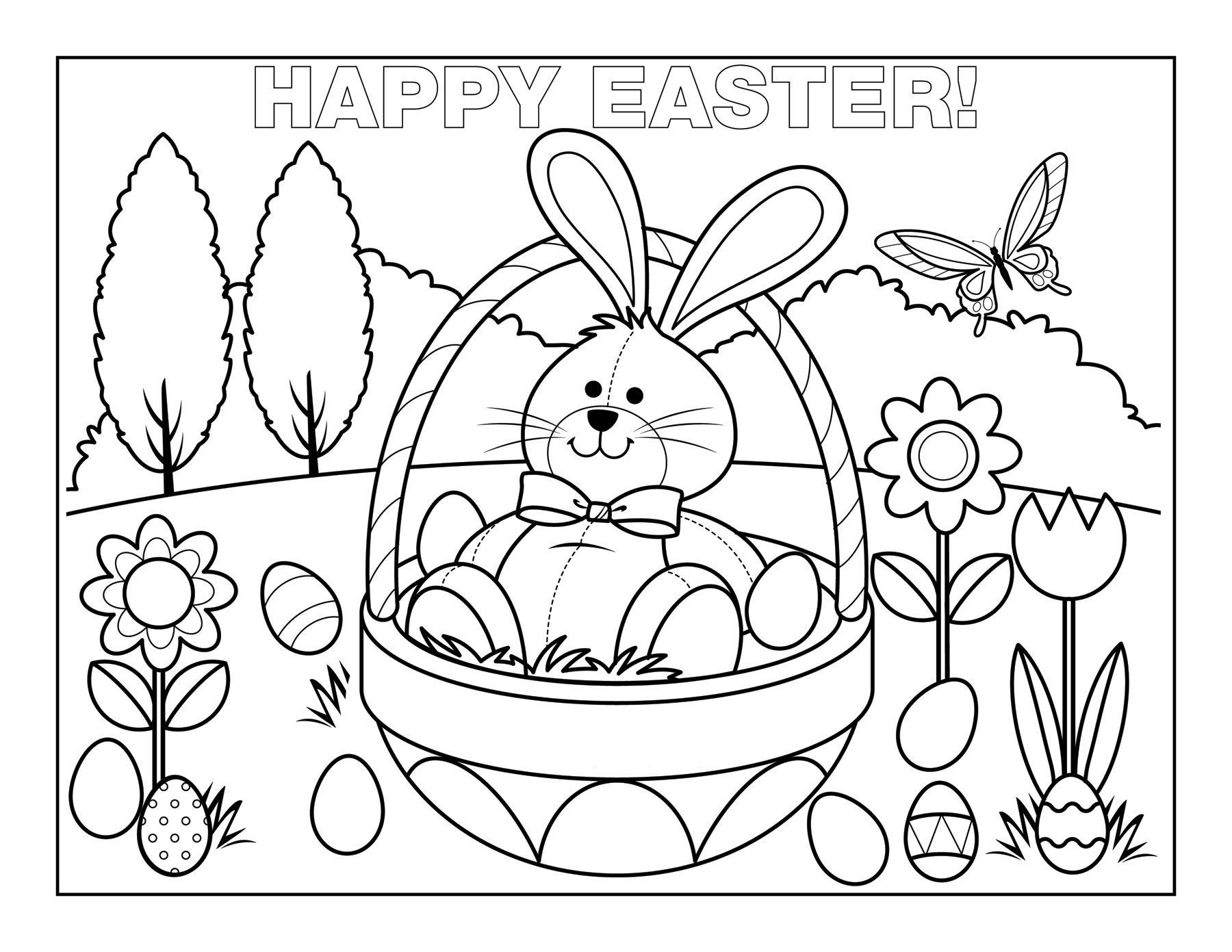 1800x1391 Easter Egg Basket Coloring Pages
