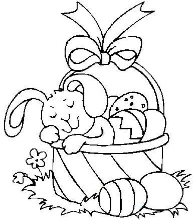 640x726 Bunny Sleeping In An Easter Basket Coloring Page Easter Baskets