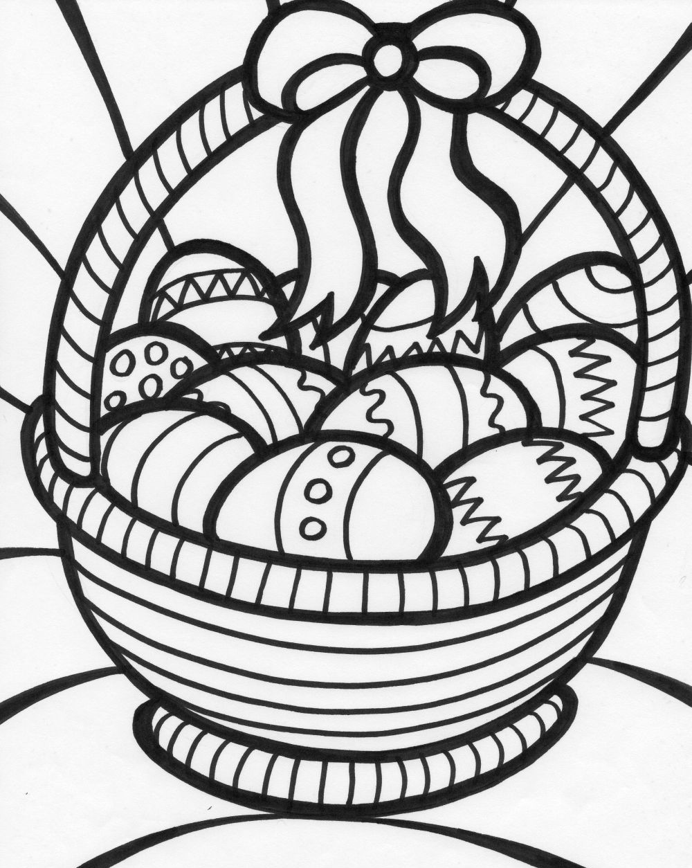 1000x1254 Easter Egg Basket Coloring Pages Printable